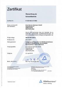 Schweißbetrieb entsprechend DIN EN ISO 3834-2