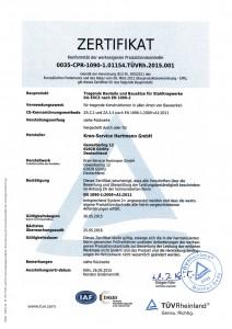 Zertifikat EXC3 nach EN 1090-2